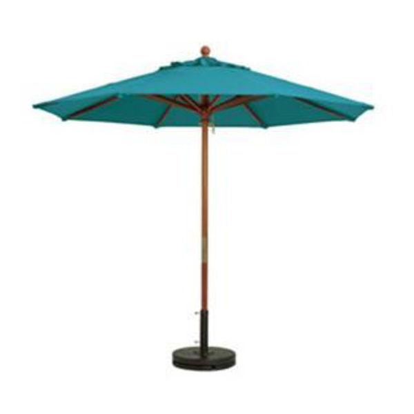 grosfillex 9 ft wooden freestanding market umbrella 2 pole in aqua pack of 1