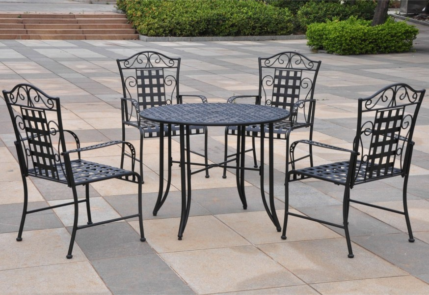 Five piece Wrought Iron Patio Set   Patio Table Five piece Wrought Iron Patio Set