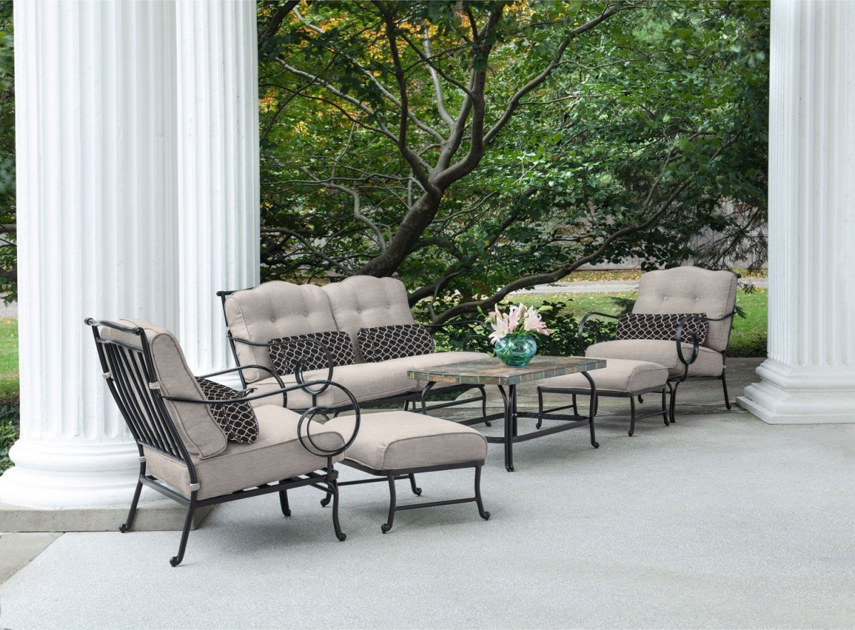 hanover oceana 6 piece outdoor conversation set w deep on big lots furniture sets id=18309
