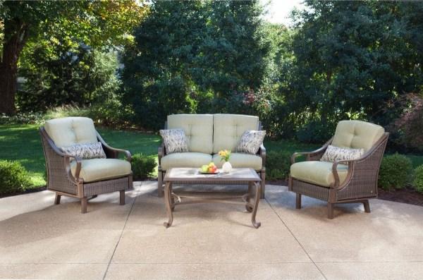 outdoor wicker patio conversation sets Hanover Ventura 4 Piece Wicker Outdoor Conversation Set