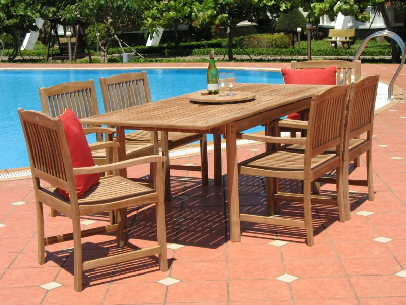 Pebble Lane Living 7 Piece Teak Patio Dining Set   Patio Table Pebble Lane Living 7 Piece Teak Patio Dining Set