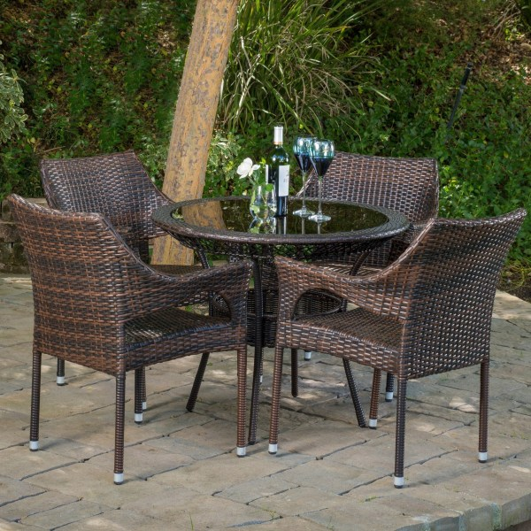 "outdoor wicker furniture 5 piece patio set Del Mar Wicker 5 Piece Outdoor Dining Set with 34"" Round"