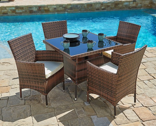 "outdoor wicker furniture 5 piece patio set Suncrown 5 Piece Wicker Outdoor Dining Set with 35"" Square"