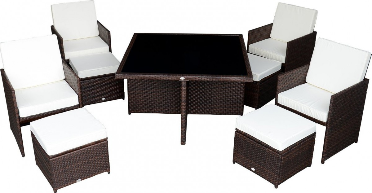 outsunny 9 piece outdoor dining set w
