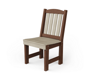 English garden dining chair made from birchwood colored poly and tudor brown poly.