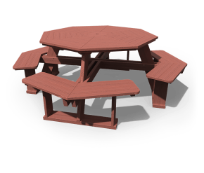 5' Octagon Picnic Table with Benches Attached in mahogany stain.