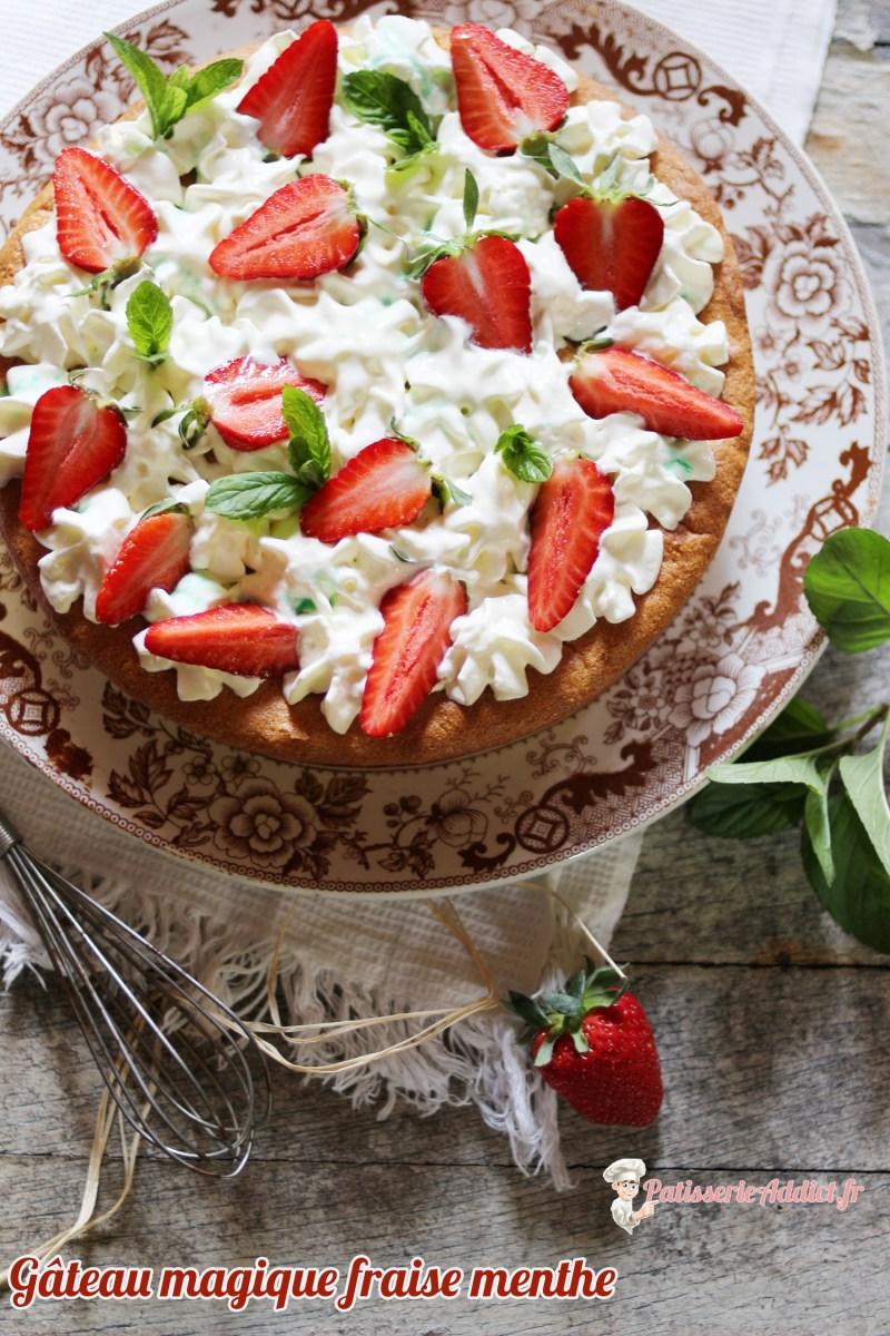Gâteau magique fraise menthe
