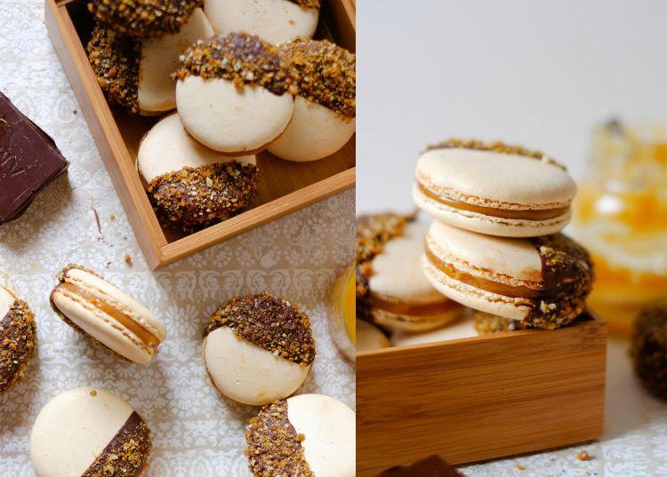 Salted Caramel Praline Macarons