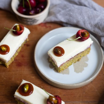 Pistachio and Cherry Cakes