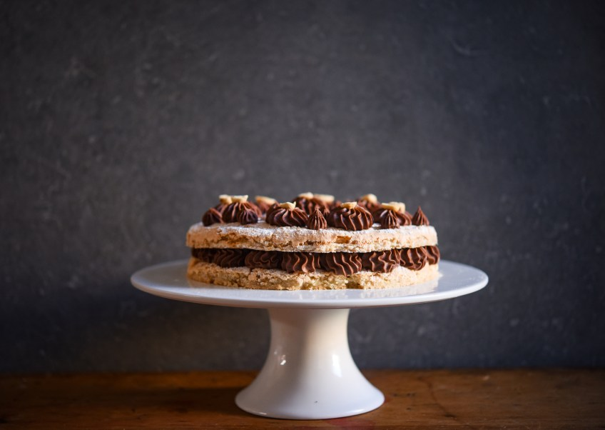 Hazelnut Dacquoise with Salted Chocolate Ganache | Patisserie Makes Perfect