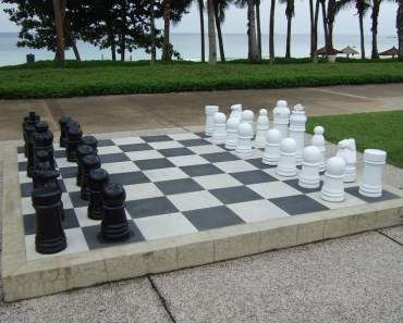 Club Med Bintan: Giant Chess Set next to Swimming Pool