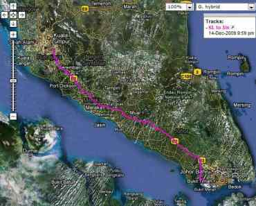 Motion X GPS Lite shows my drive from KL to Singapore