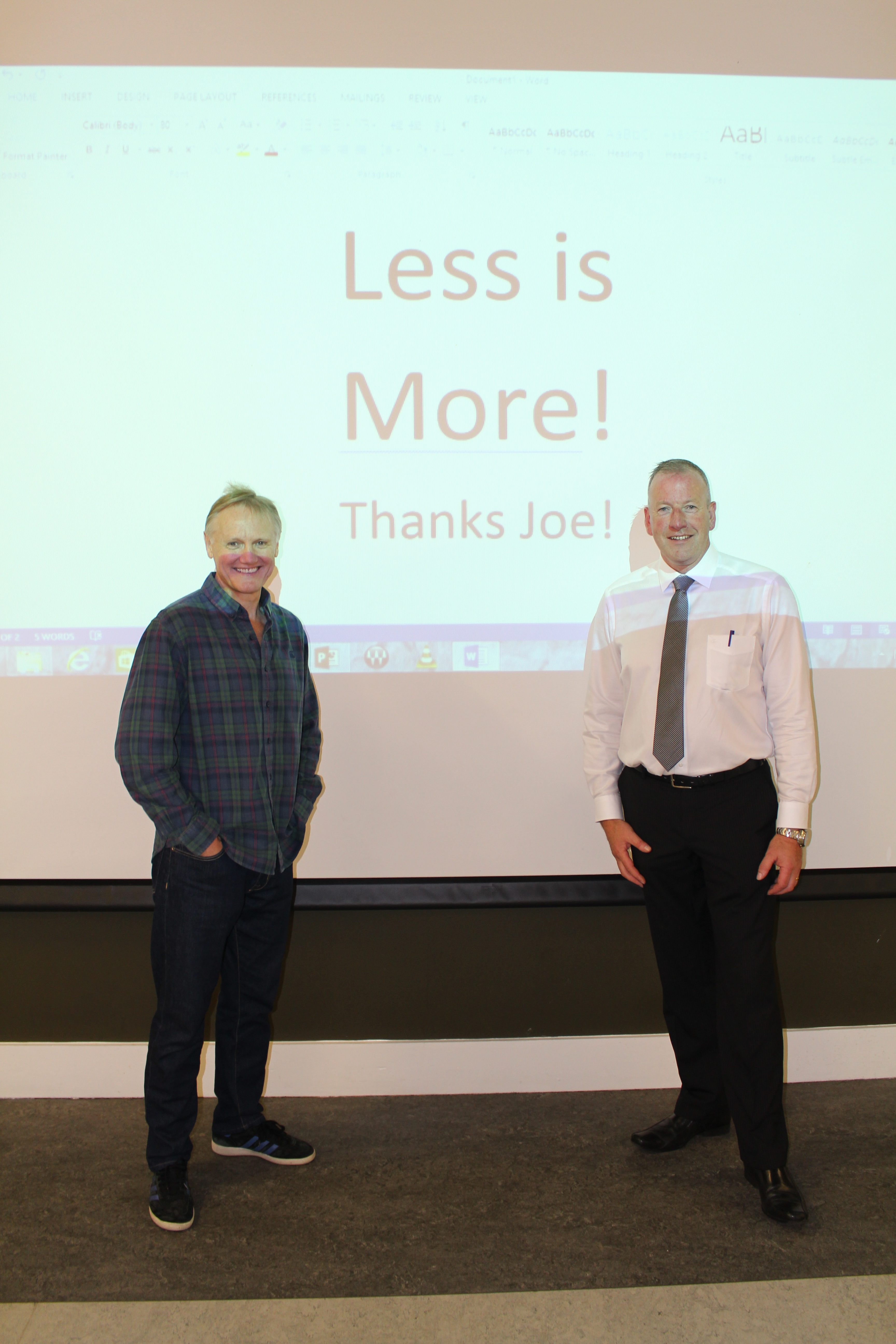 Joe left Mr Moloney with a very important message...