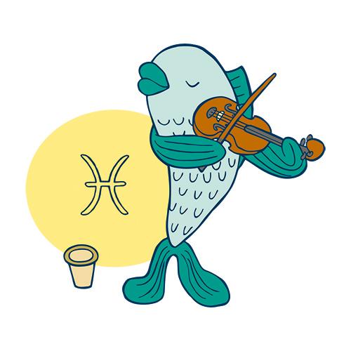 Steinzeichen Fisch mit Geige