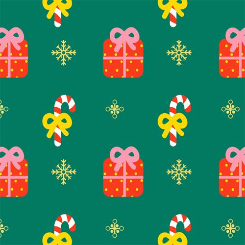 Weihnachten Muster Surface Design Geschenke und Zuckerstangen.jp