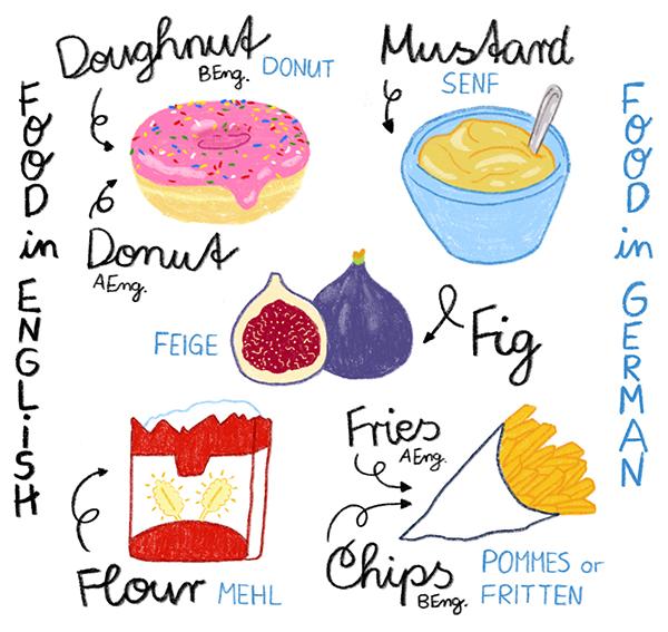 Food in english, Food in german Bildwörterbuch für Kinder
