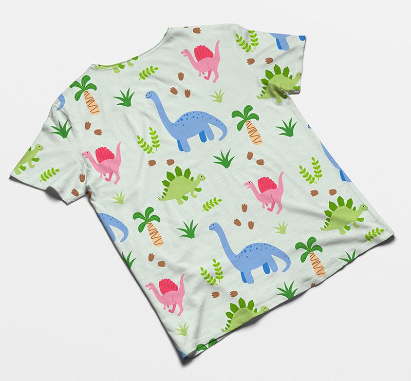 T-Shirt Beispiel Dinosaurier Muster Patricia Oettel Illustration