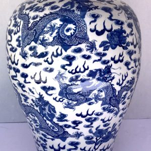 Antique Chinese Blue & White Large Ceramic Dragon Urn