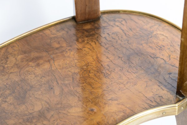 French Burl Wood & Marquetry, Ormolu Mounted Table, Kidney Shape