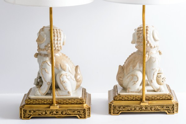 Asian Foo Dog Porcelain Table Lamps on Bronze Stands, A-Pair