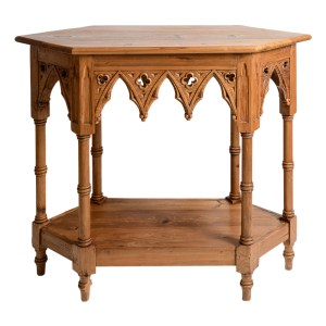 English Natural Wood Gothic Style Console Table, C.1940