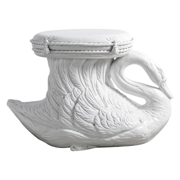 Italian Terra Cotta White Glazed Swan Garden Seat