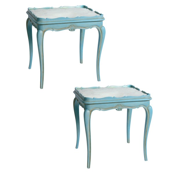 French Louis XV Style Blue Painted Mirrored Top Tables, A-Pair
