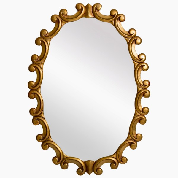 Vintage Italian Gilt Wood Scrolled Frame Oval Wall Mirror, C.1970