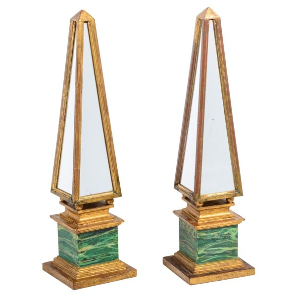 Italian Large Decorative Gilt Wood & Mirrored Obelisks, A-Pair