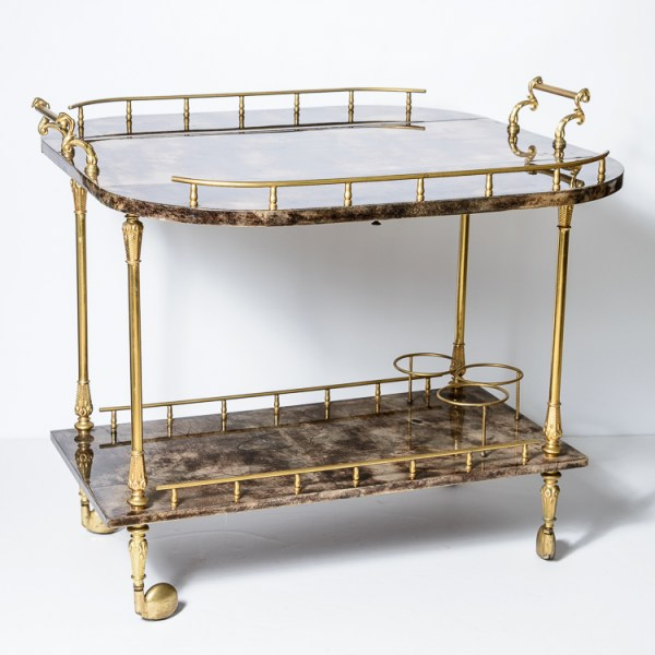 Italian Aldo Tura Chocolate Color Lacquered Goatskin Bar Cart, C.1960-1970