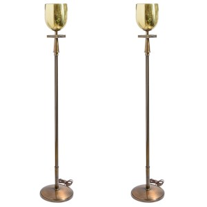 Gilt Brass & Bronze Torchere Floor Lamps Attributed to Tommi Parzinger, A-Pair
