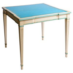 French Painted Game Table With Aqua Blue Tooled Leather