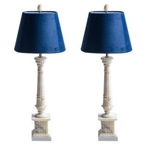 Early 20Th C. French White Alabaster Column Table Lamps With Blue Velvet Shades, A-Pair