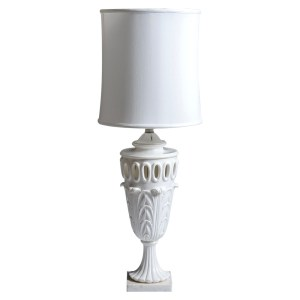 Italian Large Scale Pierced White Elegant Alabaster Table Lamp