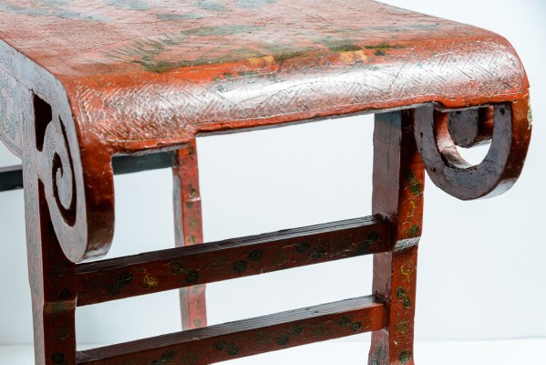 19Th. Century Chinese Red Lacquer Scrolled Altar Table