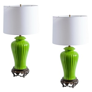Chinoiserie Green Ginger Jar Porcelain Lamps, A-Pair