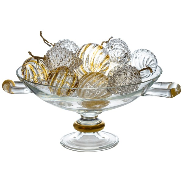 Italian Large Murano Glass Centerpiece Filled With Murano Glass Fruit