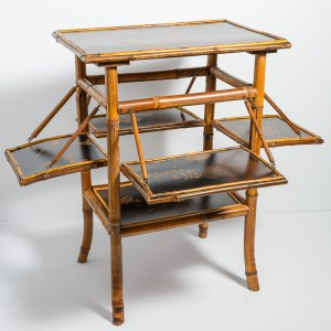 Antique English Burnt Bamboo & Lacquer Table With Shelves, Late 19th C.