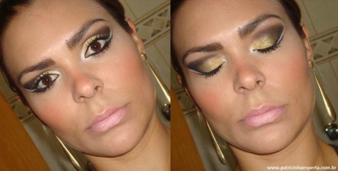 036post - Tutorial - Maquiagem Dourada e Preta com Branco para Festas
