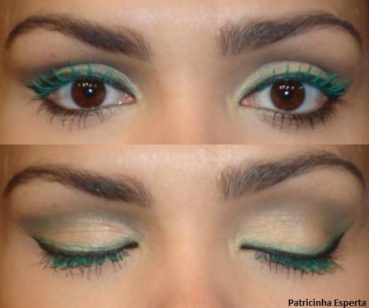 041post - Maquiagem com delineado preto e verde + rímel verde