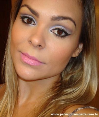 055post1 - Tutorial - Maquiagem lilás com delineado preto e dourado (glitter)