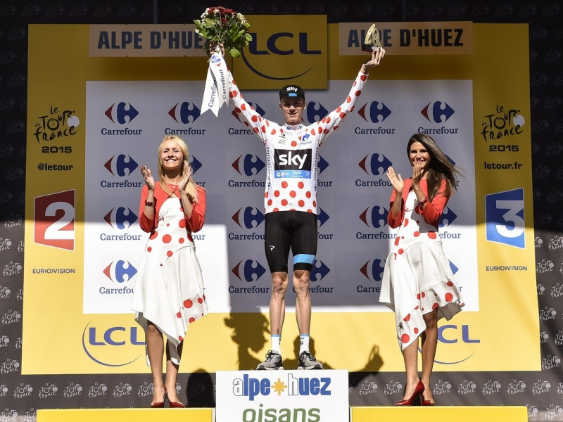 Winnaar bergklassement (bolletjestrui) Tour de France 2015 - Chris Froome