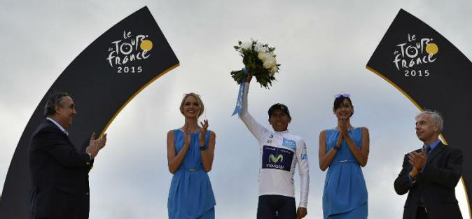 Winnaar jongerenklassement (witte trui) Tour de France 2015 - Nairo Quintana