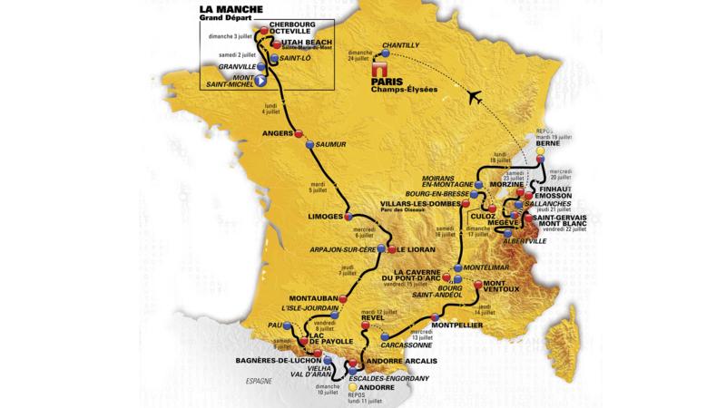 Kaart Tour de France 2016. Bron: ASO