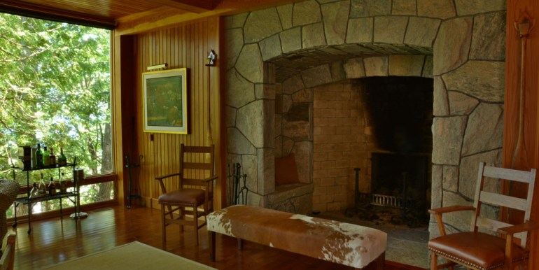 Walk-in fireplace in dining room