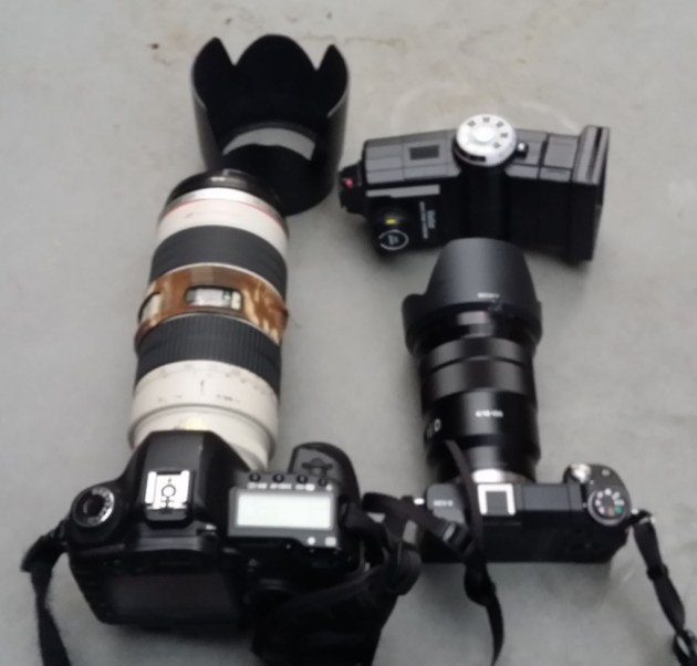 Canon 5Dii w/ 70-200mm f/2.8, Sony Nex 6 w/ 18-104 with lens shade, Vivitar 285, lens shade for