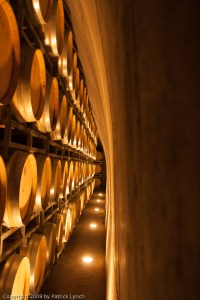 Oak barrels in vault
