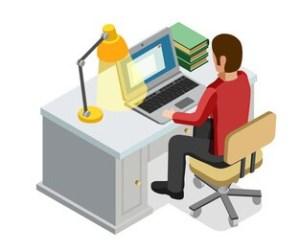 At a desk icon
