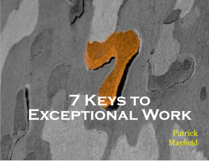 7 Keys to Exceptional Work
