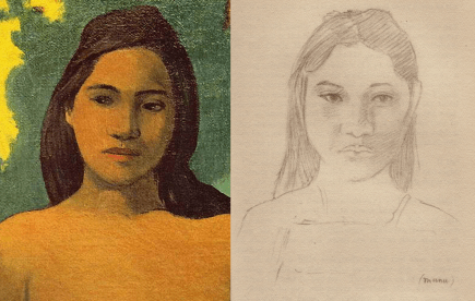 Figure from Gauguin's 1899 painting 'Tahitian Women with Mango Blossoms' (left); George Calderon's pencil sketch 'Manu' (right)